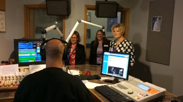 Y105 host Chris Farber, Toastmasters International Director Region 4, Monique Levesque-Pharoah, Region 4 Advisor, Kelly Nielsen, District 19 Club Growth Director, Brenda Peshak